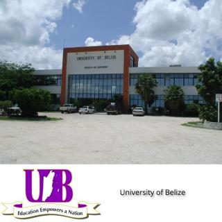 Logo of the University of Belize and photo of campus building