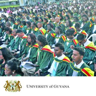 University of Guyana logo and photo of graduates