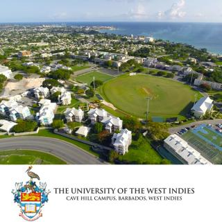 Logo of UWI at the Cave Hill Campus and aerial photo of campu
