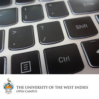 Logo of the UWI Open Campus and photo of a keyboard