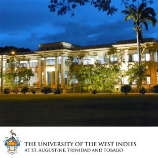 Logo of UWI St. Augustine and photo of campus building