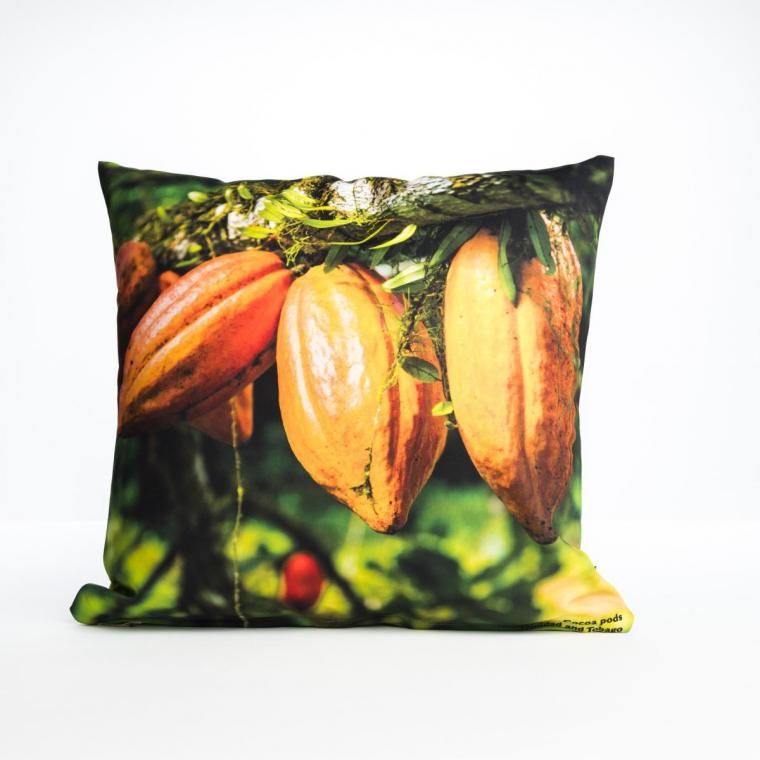 Cushion cover depicting Coco pods from Trinidad and Tobago