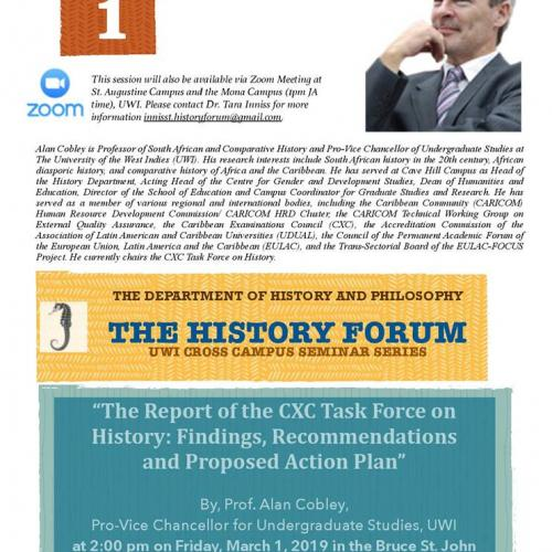 History Forum: Report of the CXC Task force