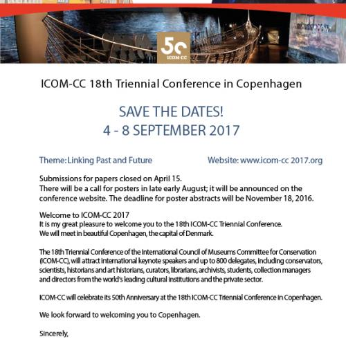 ICOM-CC 2017 save the date flyer