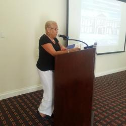 Celia Toppin, Cultural Heritage Project Manager (OAS) addresses the participants