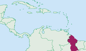 Location of Guyana in the Caribbean