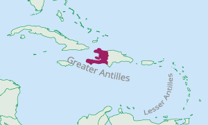 Location of Haiti in the Caribbean