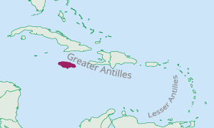 Location of Jamaica in the Caribbean