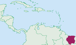 Location of Suriname in the Caribbean