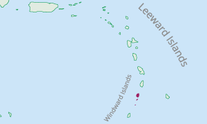 Map displaying location of St. Vincent and the Grenadines in the Eastern Caribbean