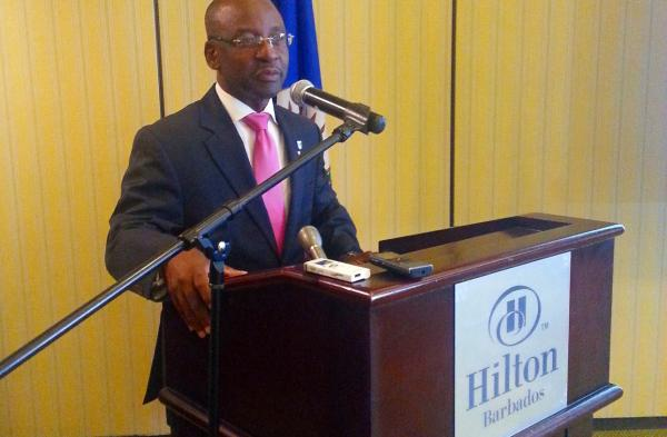 Minister Stephen Lashley welcomes participants to Bridgetown meeting