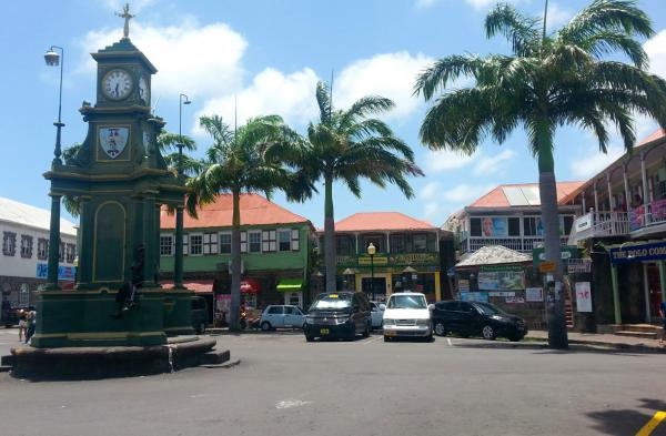 Clock tower and Historic buildings, Basseterre, St. Kitts